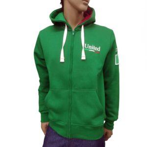 Φούτερ zipper με κουκούλα United Cotton MJ6 Green