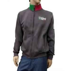 Φούτερ zipper United Cotton MJ7 Dark Grey