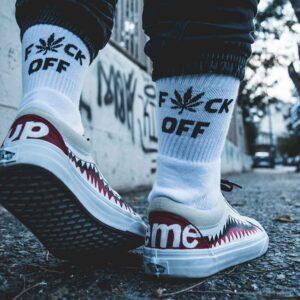 Κάλτσες Bee Unusual F*ck Off 420 Edition White
