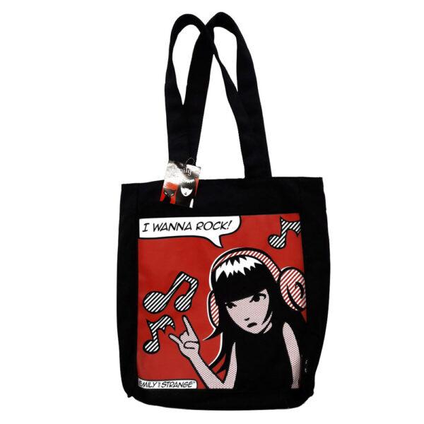 Emily the Strange Tote Bag I Wanna Rock Black
