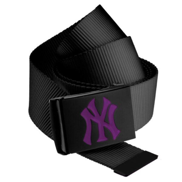 MLB Premium Black Woven Belt Single Purple