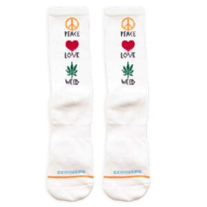 Κάλτσες Bee Unusual Peace Love Weed White