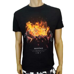 T-Shirt Mister Tee Pray On Fire Tee Black