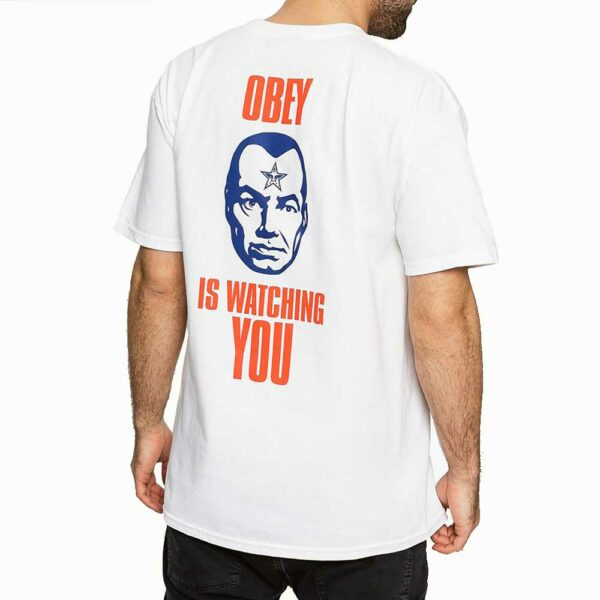 T-Shirt Obey Is Watching You White