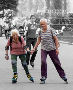 old couple rollerblading