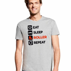 Tshirt EAT-DRINK-ROLLER-REPEAT grey