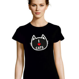 Tshirt I LOVE CATS black