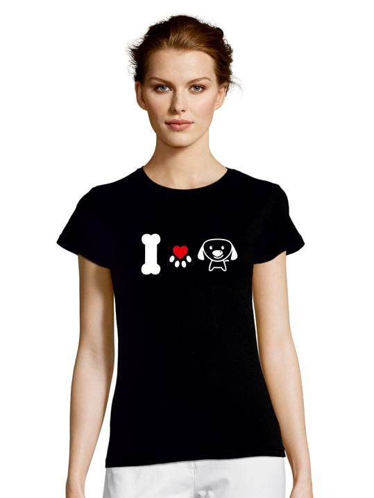 Tshirt I LOVE DOGS black